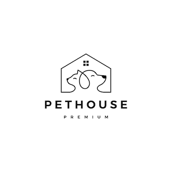 Linea profilo di vettore di logo della casa della casa dell'animale domestico del gatto del cane di arte