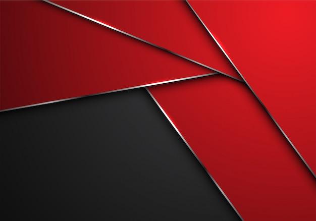 Linea rossa poligono argento sovrapposizione su sfondo spazio vuoto grigio.