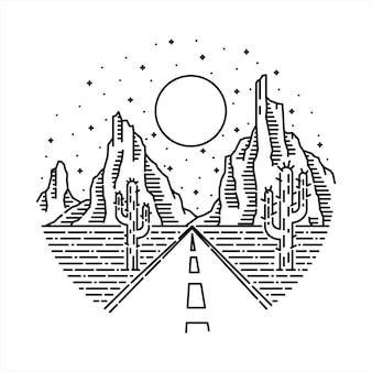 Linea selvaggia art t-shirt design grafico dell'illustrazione della montagna della roccia del deserto