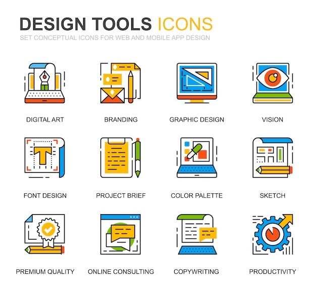 Linea semplice icone degli strumenti di progettazione dell'insieme per il sito web