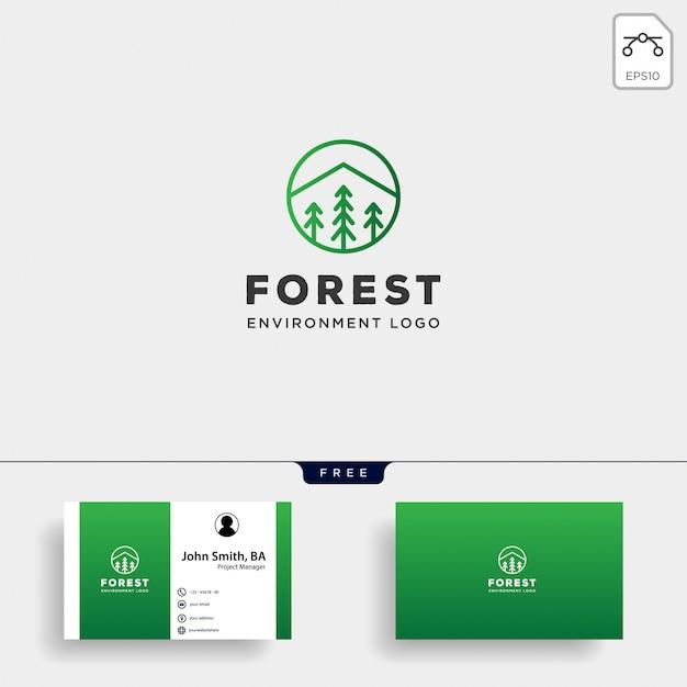 Linea semplice logo foresta natura distintivo