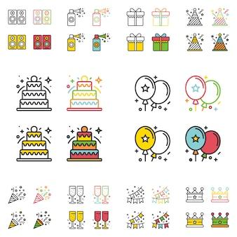 Linea semplice piana delle icone della festa di compleanno messa.