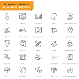 Linea semplice set di icone di affari e finanza