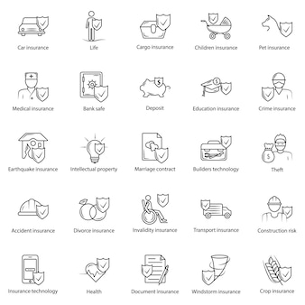 Linea semplice set di icone di assicurazione.
