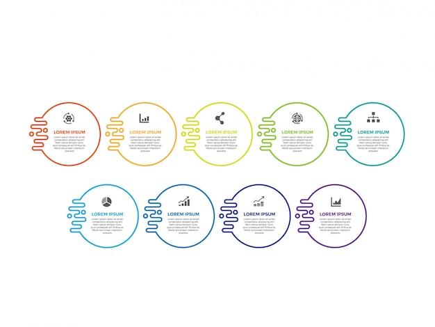 Linea sottile design infografico minimal