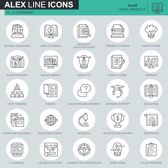 Linea sottile formazione online, e-learning, set di icone di e-book