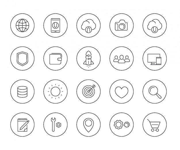 Linea sottile icone di web messe su bianco