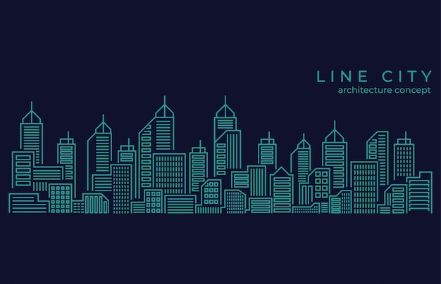Linea sottile paesaggio della città