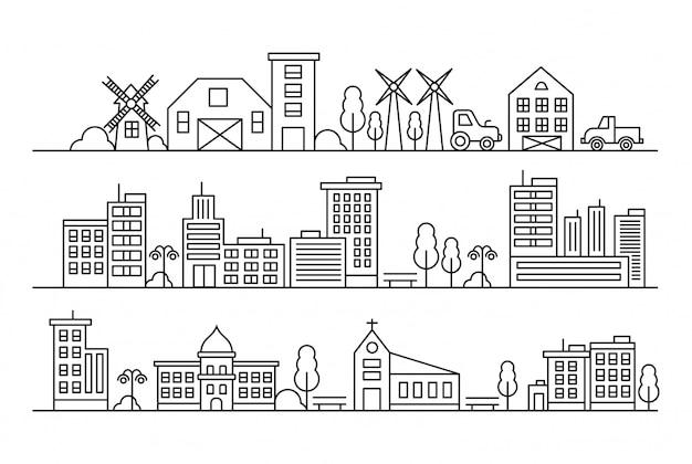 Linea urbana con chiese, moschee, industria e concetto di proprietà
