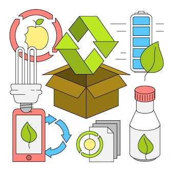 Linear style recycling vector elements