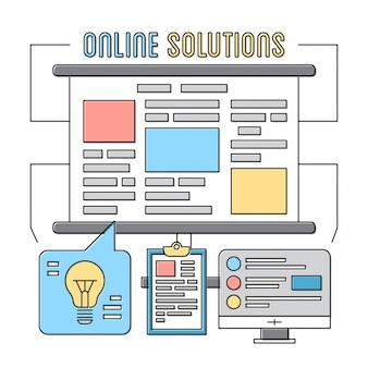 Lineare icone di stile elementi aziendali soluzioni online