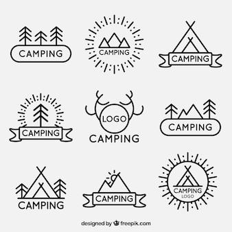 Lineari logotipi campeggio pacco