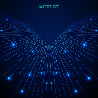 Linee astratte blu tecnologia sfumatura linee modello