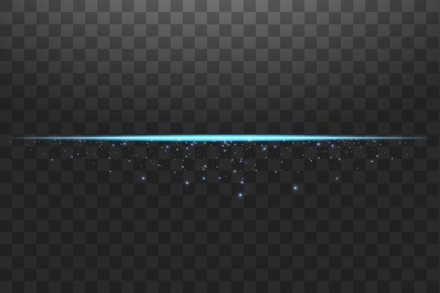 Linee astratte luci blu. un lampo luminoso sulla linea