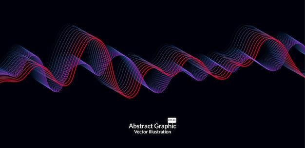 Linee astratte onda colorata su sfondo nero