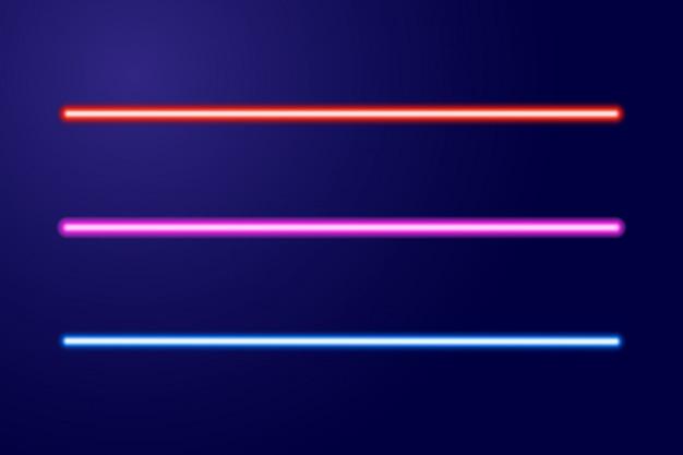 Linee blu neon, rosse, rosa o spade luminose di