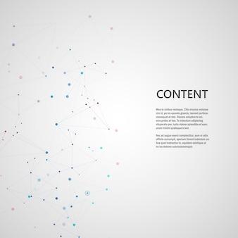 Linee che collegano i punti della griglia creativa sulla superficie. sfondo astratto copertina