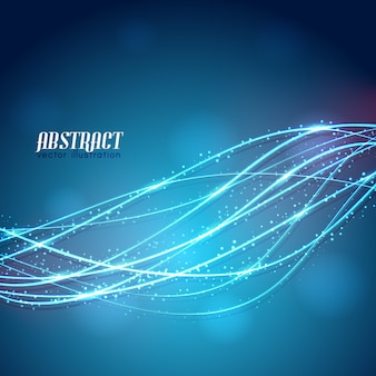 Linee curve incandescente astratte con scintillii bianchi su sfondo blu sfocato