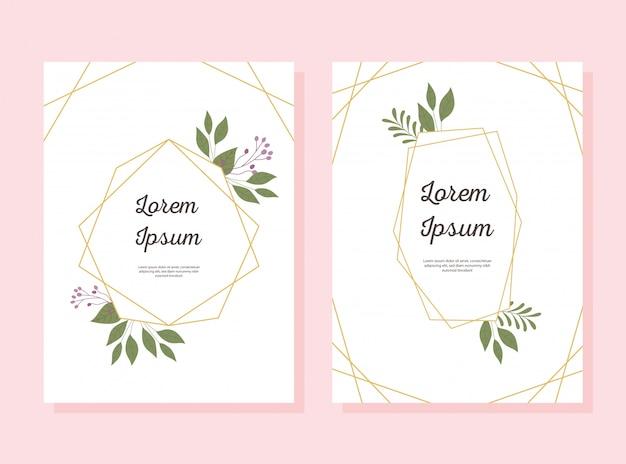 Linee decorative della struttura dell'oro dell'invito di nozze con la cartolina d'auguri o l'annuncio dei fiori
