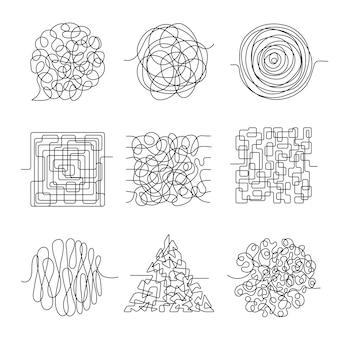 Linee del caos. scribble filettatura forma disordinata