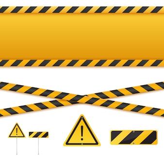 Linee di attenzione isolate. nastri d'avvertimento. segni di pericolo.