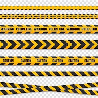 Linee di attenzione isolate. nastri d'avvertimento. segni di pericolo ..