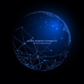 Linee di connessione intorno al globo terrestre sullo sfondo, tecnologia della comunicazione per le attività su internet.