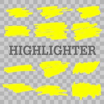 Linee di evidenziazione evidenziate giallo disegnato a mano. colpi evidenziatore isolati