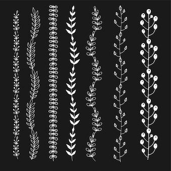 Linee di gesso senza cuciture dell'ornamento floreale. decorazione disegnata a mano, set di bordi di schizzo.
