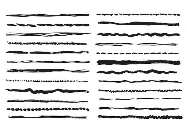 Linee di matita. tratti di linea a mano libera doodle texture gesso scribble linea nera schizzo grunge bordi divisori fatti a mano di vettore isolati