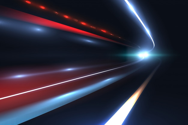 Linee di velocità dell'automobile. la luce trascina il tragico del fondo astratto di vettore di lunga esposizione