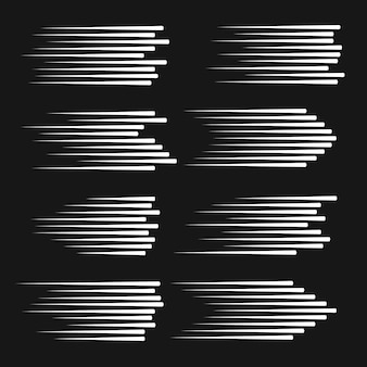 Linee di velocità isolate. linee di movimento nero su sfondo bianco.