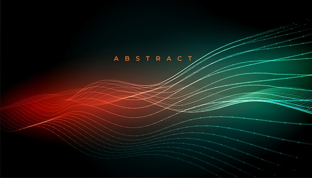 Linee digitali astratte incandescente disegno di sfondo ondulato