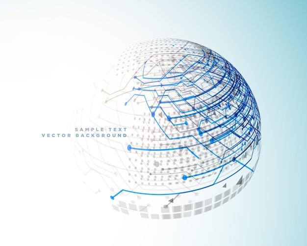 Linee digitali di tecnologia in stile 3d sfera