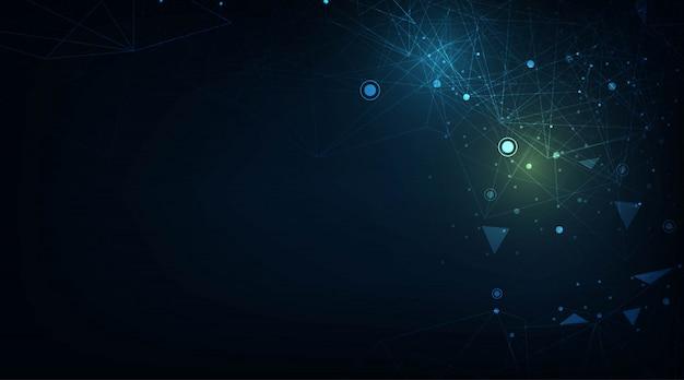 Linee e punti astratti collegano lo sfondo. tecnologia di connessione dati digitali e concetto di big data. concetto di rete di comunicazione e tecnologia con linee e punti in movimento.