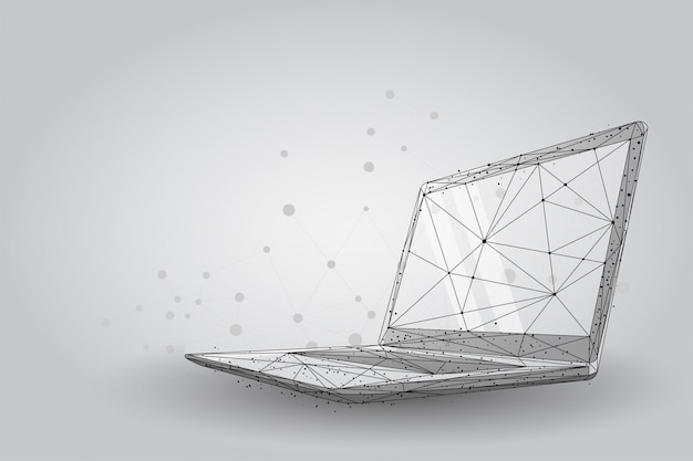 Linee e punti in plesso computer portatile low poly wireframe