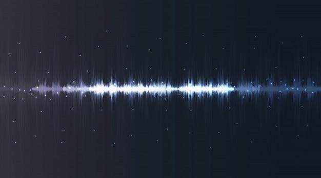 Linee flash al neon di onde sonore in bianco e blu su sfondo sfumato
