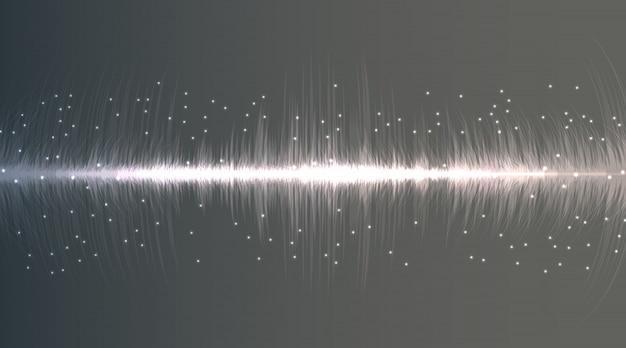 Linee flash al neon di onde sonore in bianco e grigio su sfondo sfumato