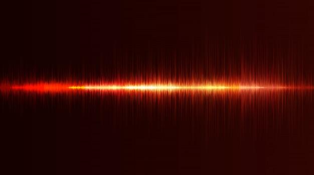 Linee flash al neon di onde sonore in rosso e arancione su sfondo sfumato