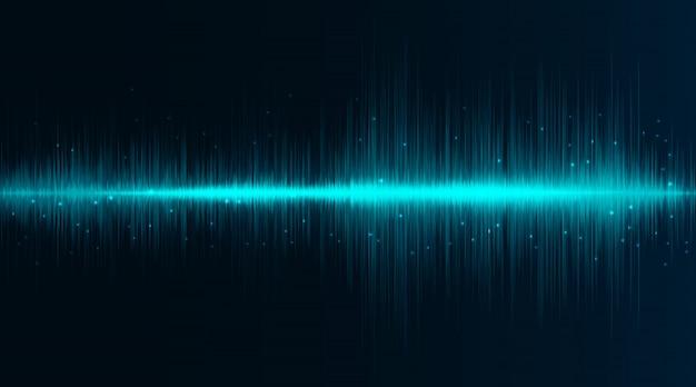 Linee flash al neon di onde sonore in turchese e blu su sfondo sfumato