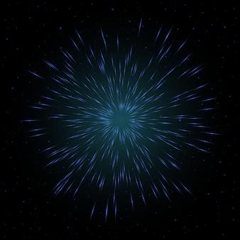 Linee futuristiche di fuochi d'artificio con polvere di stelle di particelle