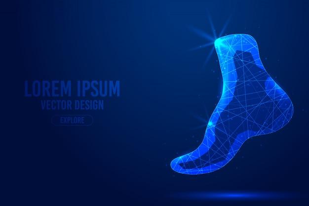 Linee geometriche di piedi umani, modello di vettore wireframe poli basso stile. fondo blu isolato di concetto di tecnologia di scienza della medicina poligonale.