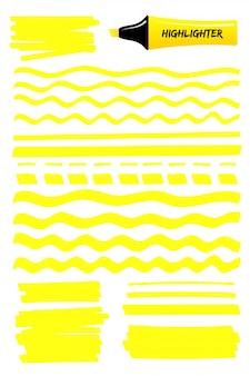 Linee gialle e scarabocchi con evidenziatore