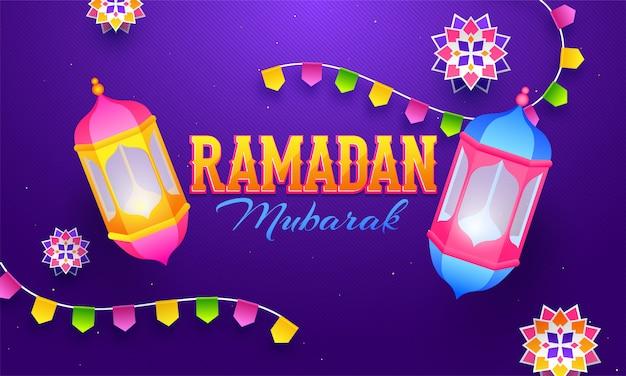 Linee grigie diagonali su sfondo viola per ramadan mubarak pos