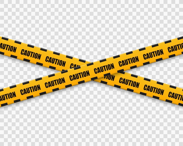 Linee isolate nastri d'avvertimento. attenzione. segni di pericolo. illustration.yellow con linea di polizia nera e nastri di pericolo. illustrazione.