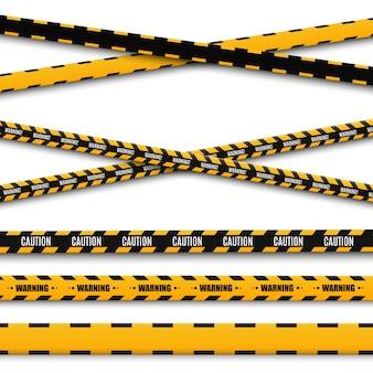 Linee isolate nastri d'avvertimento. attenzione. segni di pericolo.