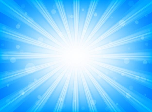 Linee radiali dello sprazzo di sole astratto del fondo su fondo blu