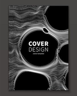 Linee sottili e modello di copertina astratto bolla