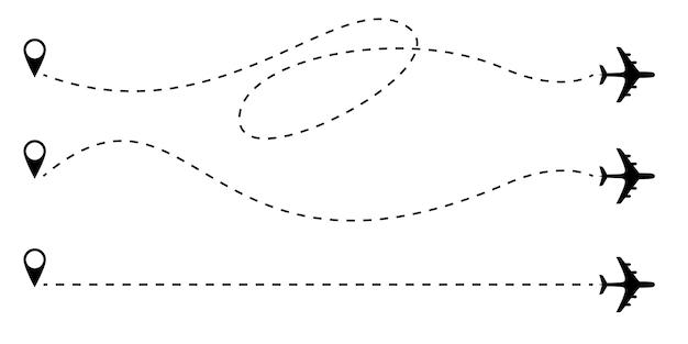 Linee tratteggiate della rotta dell'aeroplano.