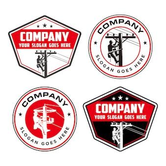 Lineman logo, logo elettrico ad alta pole
